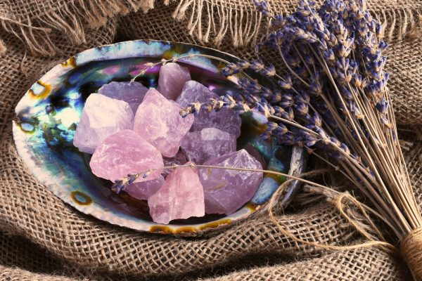Rose quartz in an abalone shell for love