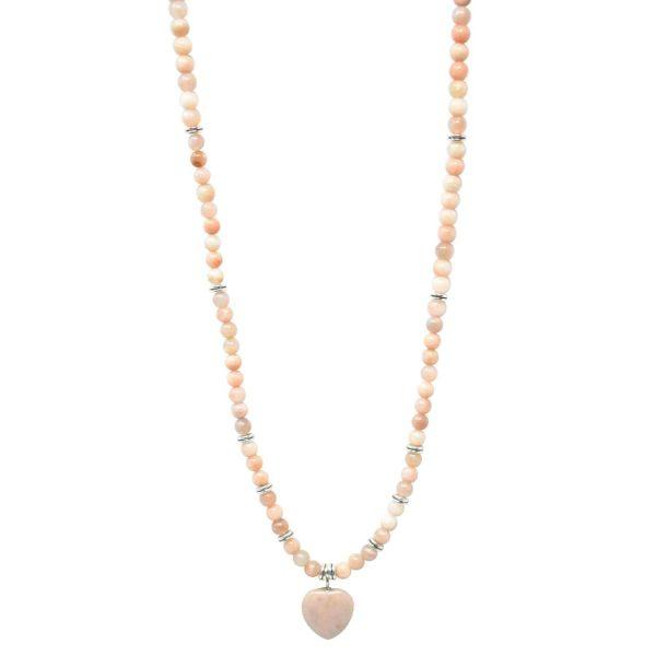 Sunstone mala necklace with heart pendant