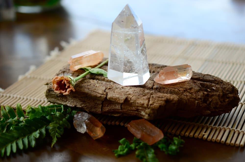 Tangerine quartz points with crystal quartz tower