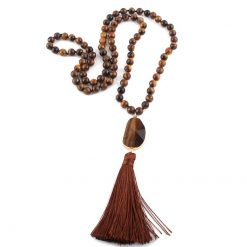 Tiger eye beaded tassel necklace with stone pendant