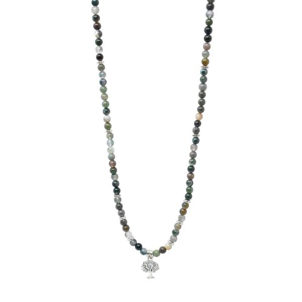 Indian agate green mala necklace with tree of life pendant