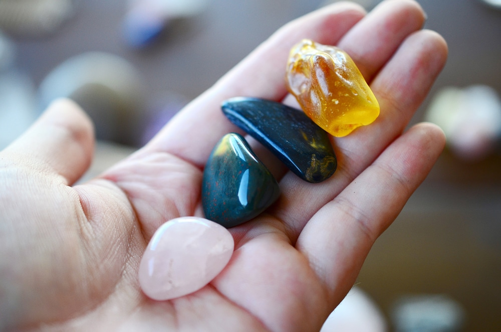 Tumbled crystals for fertility kit: Rose Quartz, Amber, Blue Tigers Eye, Bloodstone
