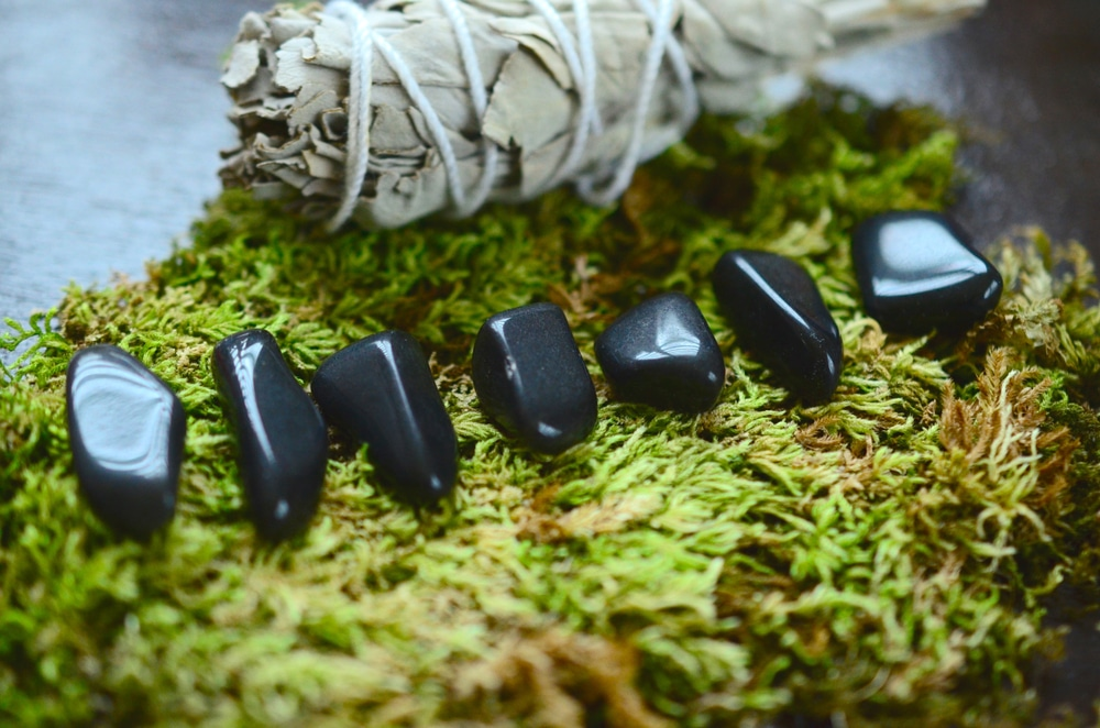 Tumbled apache tears and obsidian crystals for protection