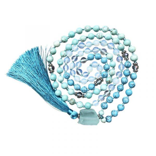 Turquoise mala tassel necklace with crystal quartz pendant