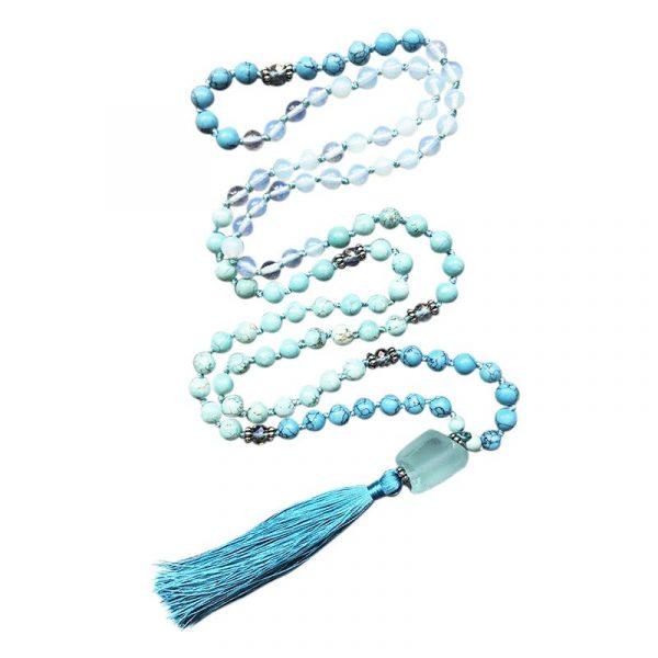 Turquoise blue mala necklace with crystal quartz pendant