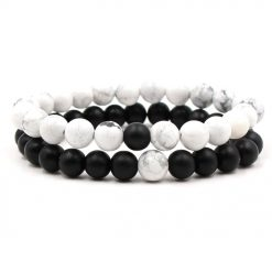 Twin flame onyx stone distance bracelets set for him and her