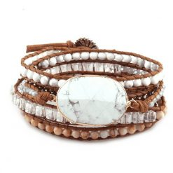 White howlite leather wrap bracelet with crystal and stone
