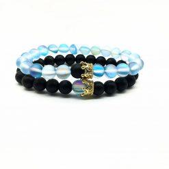 Light blue distance bracelet set for him and her