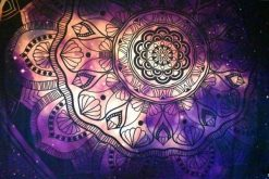 Purple and pink flower mandala wall tapestry
